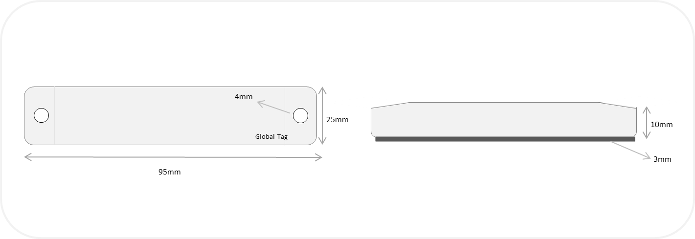 Dimensioni tag RFID Raptory